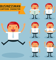 Set of businessman characters poses vector image vector image