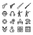 shooting icon set vector image