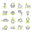 simple set of ecology related outline icons vector image vector image