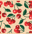 summer pattern with sweet cherries and leaves vector image