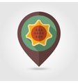 Sunflower flat mapping pin icon with long shadow vector image