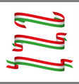 Three modern ribbons with the italian tricolor vector image