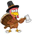Turkey Mascot Holding An Axe vector image vector image