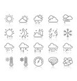 weather simple black line icons set vector image