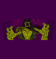 witch costume halloween mask and hands vector image