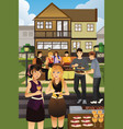 young people having garden party vector image vector image