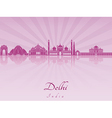 Delhi skyline in purple radiant orchid vector image