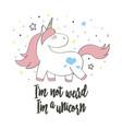 magic cute unicorn in cartoon style vector image