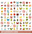 100 gardening icons set flat style vector image vector image
