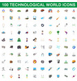 100 technological world icons set cartoon style vector image vector image