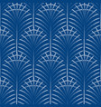 art deco palm leaves geometry arch blue seamless vector image