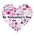 Attributes of Valentines day on heart shape vector image vector image