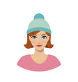 avatar icon of girl in a beanie hat vector image vector image