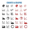 Black and red charts or graphs icons vector image vector image