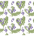 bluebell flowers and fern leaves seamless vector image vector image