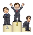 Businessmen are standing on pedestal 2 vector image