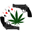 cards hemp and two pistols vector image vector image