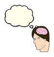 cartoon head with brain symbol with thought bubble vector image vector image