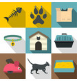 cat things icon set flat style vector image vector image