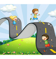 Children and road vector image vector image