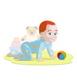 crawling baby in cartoon style vector image vector image