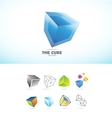Cube 3d logo icon set vector image vector image