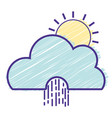 cute cloud with sun and raining natural weather vector image vector image
