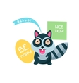 Cute Raccoon with a sign for text vector image vector image