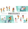 flat pregnancy composition vector image vector image