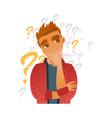 flat young caucasian man thinking vector image vector image