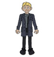 funny blonde man in a gray coat vector image vector image