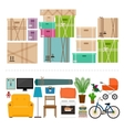 Furniture and boxes icons set vector image