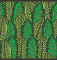 green pattern with overlapping tropical leaves vector image vector image