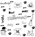 Halloween witch scary element doodle vector image vector image