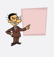 happy asian businessman is showing as in a vector image vector image