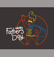 happy fathers day banner with dad super hero vector image