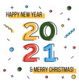 happy new year 2021 and merry christmas greeting vector image vector image