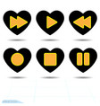 heart black icon love symbol set of orange media vector image vector image