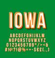 iowa vintage 3d lettering retro bold font vector image