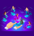 isometric avatars mermaids with different vector image