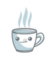 kawaii coffee cup beverage drink break office icon vector image vector image