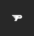 Letter P logo mockup modern business card flying vector image vector image