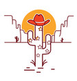 merry christmas cactus with garland and cowboy vector image vector image