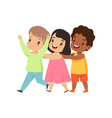 multicultural little kids having fun together vector image vector image