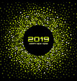 new year 2019 card background green confetti vector image vector image