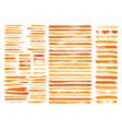 orange paint stain brush stroke dabs set vector image vector image