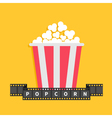 Popcorn Film strip ribbon line with text Red white vector image vector image