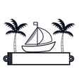 sailboat maritime frame icon vector image