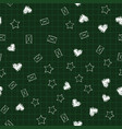 school seamless blackboard pattern with hearts vector image