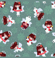 seamless pattern pretty christmas angels vector image